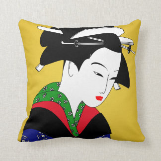 Japanese Geisha Girl Throw Pillow