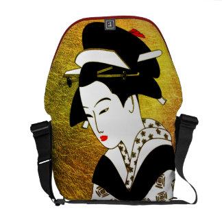 japanese geisha gold rickshaw bag black courier bags