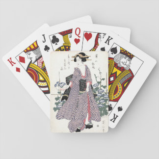 Japanese Geisha in Kimono Woodblock Print Playing Cards