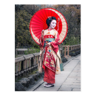 Japanese Geisha in Kyoto Postcard