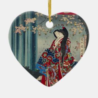 Japanese Geisha Lady Japan Art Cool Classic Ceramic Ornament