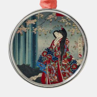 Japanese Geisha Lady Japan Art Cool Classic Metal Ornament