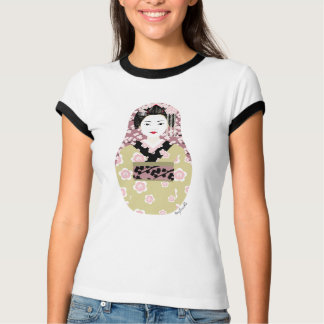 Japanese Geisha Matryoshka Ladies Ringer T T-Shirt