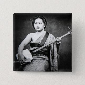 Japanese Geisha Playing Samisen Vintage Music 2 Inch Square Button