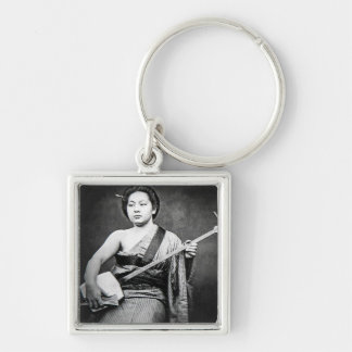 Japanese Geisha Playing Samisen Vintage Music Keychain