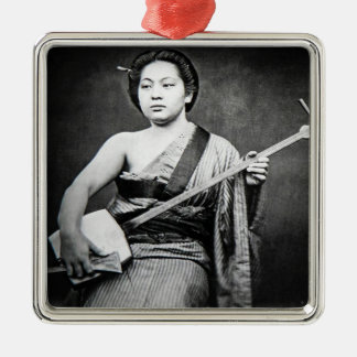 Japanese Geisha Playing Samisen Vintage Music Silver-Colored Square Ornament