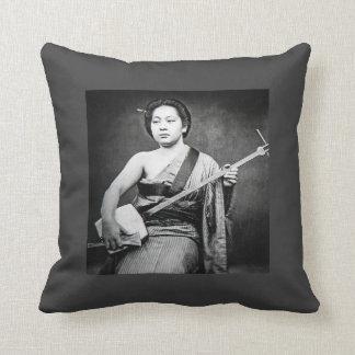 Japanese Geisha Playing Samisen Vintage Music Throw Pillow