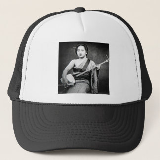 Japanese Geisha Playing Samisen Vintage Music Trucker Hat