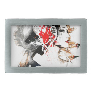 Japanese Geisha Rectangular Belt Buckle