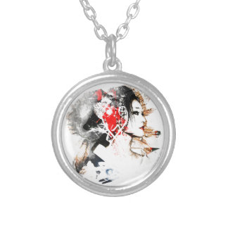 Japanese Geisha Silver Plated Necklace