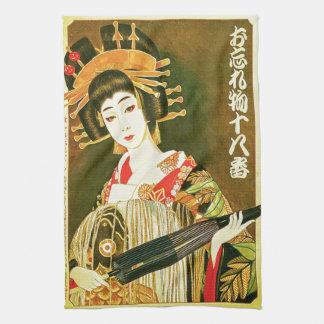 Japanese Geisha & Wasaga Paper Umbrella Art Kitchen Towels