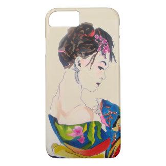 Japanese Geisha with blue kimono iPhone 7 Case