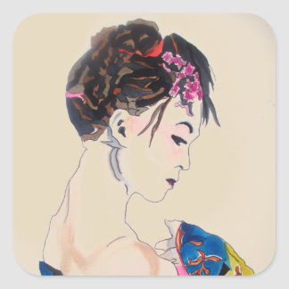 Japanese Geisha with blue kimono Square Sticker
