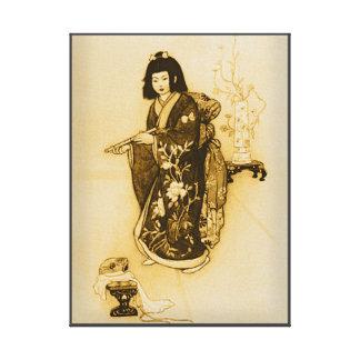JAPANESE GEISHA WITH KIMONO. VINTAGE JAPANES GIRL CANVAS PRINT