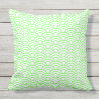 Japanese Geometric Modern Fish Scale Pattern Throw Pillow