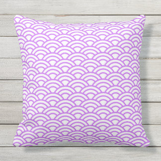 Japanese Geometric Modern Fish Scale Pattern Throw Pillow