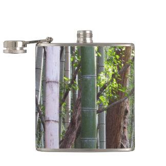 Japanese Giant Bamboo Forest, Sagano, Kyoto, Japan Hip Flask