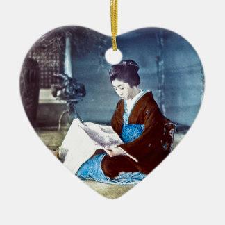 Japanese Girl Reading Newspaper Vintage Ceramic Heart Ornament