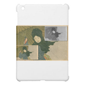 Japanese girl with umbrella in the rain case for the iPad mini