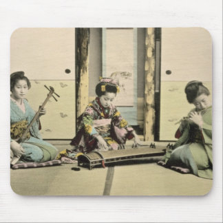 Japanese girls playing the flute, 'koto' and samis mouse pad