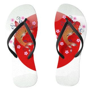 Japanese glossy flag koi carp flip flops