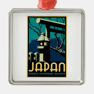 Japanese Government Railways Vintage World Travel Silver-Colored Square Ornament