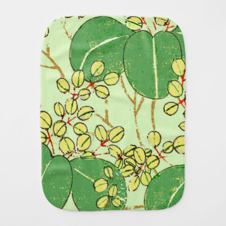 Japanese Green Art Leaf Floral repeating pattern Burp Cloth