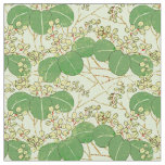 Japanese Green Art Leaf Floral repeating pattern Fabric