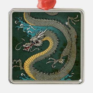 JAPANESE GREY DRAGON Silver-Colored SQUARE ORNAMENT