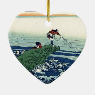 Japanese Hokusai Fuji View Landscape Ceramic Heart Ornament