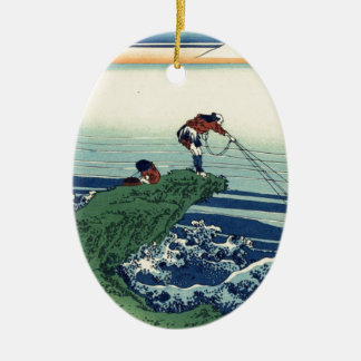 Japanese Hokusai Fuji View Landscape Ceramic Ornament