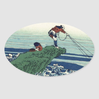 Japanese Hokusai Fuji View Landscape Oval Sticker