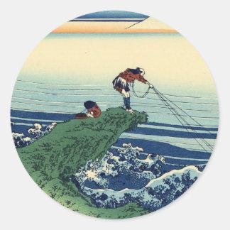 Japanese Hokusai Fuji View Landscape Round Sticker