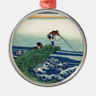 Japanese Hokusai Fuji View Landscape Silver-Colored Round Ornament