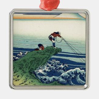 Japanese Hokusai Fuji View Landscape Silver-Colored Square Ornament