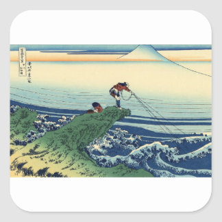 Japanese Hokusai Fuji View Landscape Square Sticker