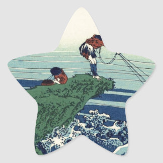 Japanese Hokusai Fuji View Landscape Star Sticker