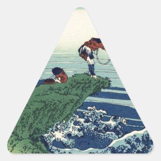 Japanese Hokusai Fuji View Landscape Triangle Sticker