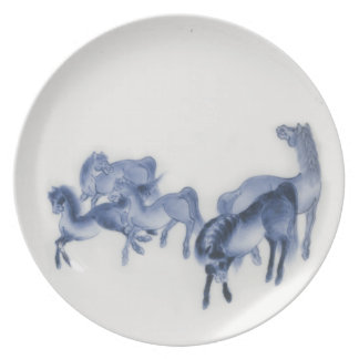 Japanese Horses Antique Reproduction Dinner Plates