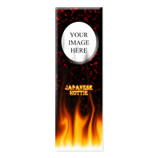 Japanese Hottie fire and flames red marble Mini Business Card