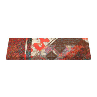Japanese Imperial Crimson Patterns Canvas Print