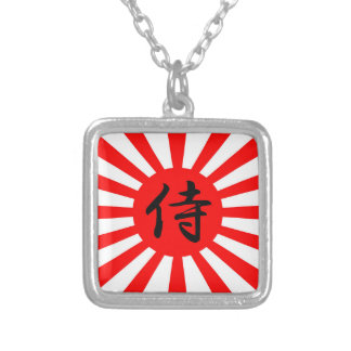 Japanese Imperial Flag with Samurai Kanji Symbol Silver Plated Necklace
