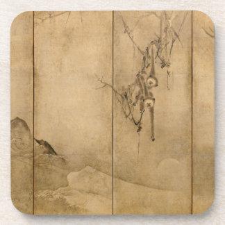 Japanese Ink on paper Gibbons Primates & Landscape Coaster