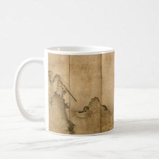 Japanese Ink on paper Gibbons Primates & Landscape Coffee Mug