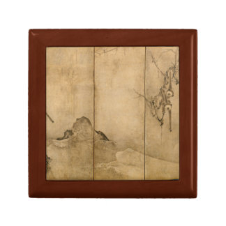 Japanese Ink on paper Gibbons Primates & Landscape Jewelry Box