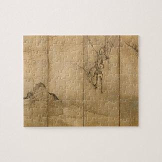 Japanese Ink on paper Gibbons Primates & Landscape Jigsaw Puzzle
