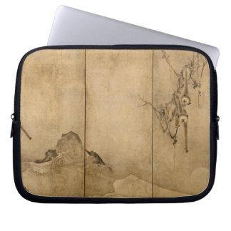 Japanese Ink on paper Gibbons Primates & Landscape Laptop Sleeve