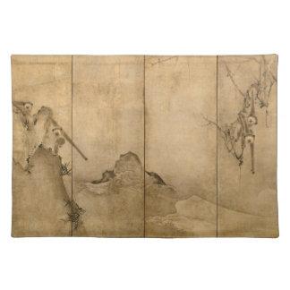 Japanese Ink on paper Gibbons Primates & Landscape Placemat