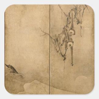 Japanese Ink on paper Gibbons Primates & Landscape Square Sticker