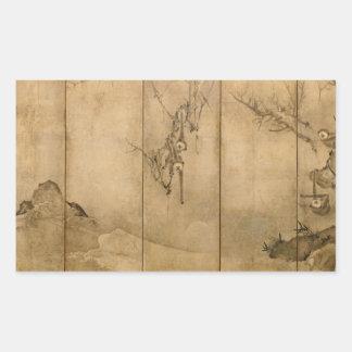 Japanese Ink on paper Gibbons Primates & Landscape Sticker